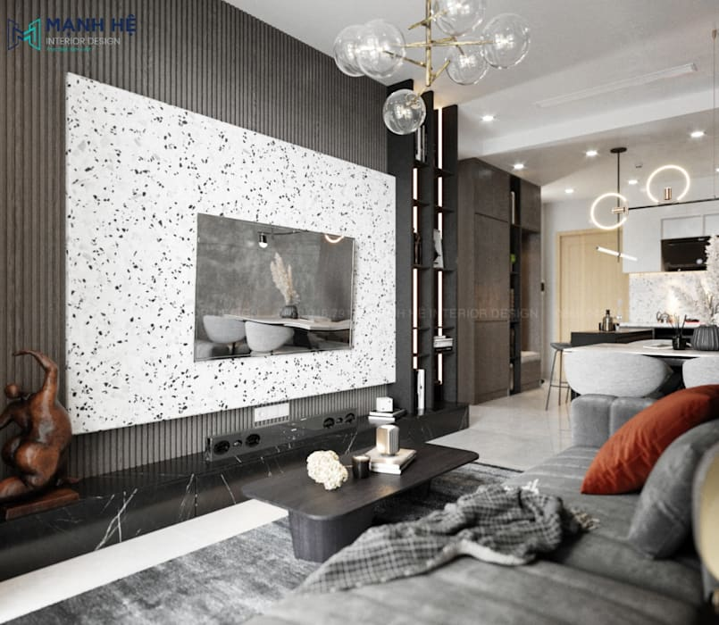 Nội thất phòng khách bởi Công ty TNHH Nội Thất Mạnh Hệ Hiện đại