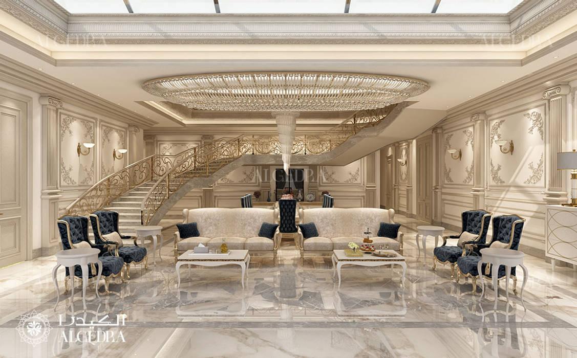 Luxury villa living room interior design in Abu Dhabi by Algedra Interior Design Classic