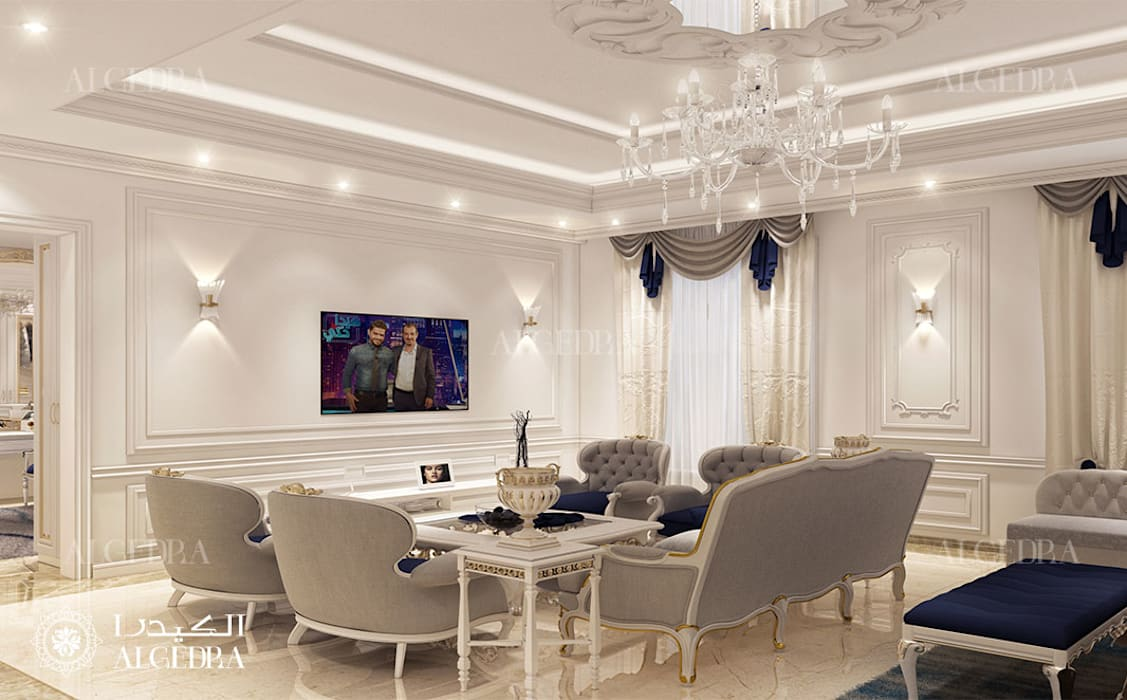 Master bedroom sitting area in luxury villa Classic style bedroom by Algedra Interior Design Classic