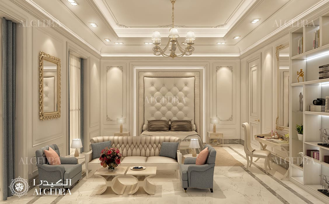 Luxury villa bedroom design in Abu Dhabi Classic style bedroom by Algedra Interior Design Classic