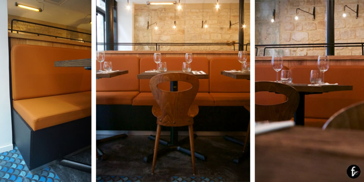 salle de restaurant / assises Salle à manger industrielle par Agence Florence Rigon Industriel