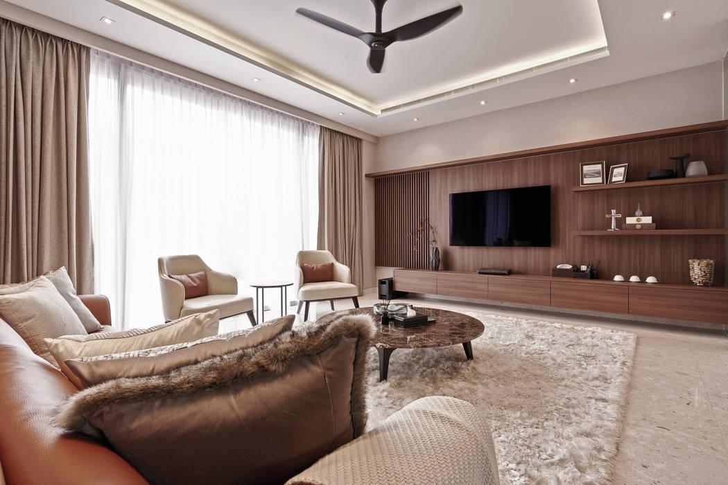 Mr Shopper Studio   Landed Property   Cayman Residence   Living Room Modern living room by Mr Shopper Studio Pte Ltd Modern Wood Wood effect