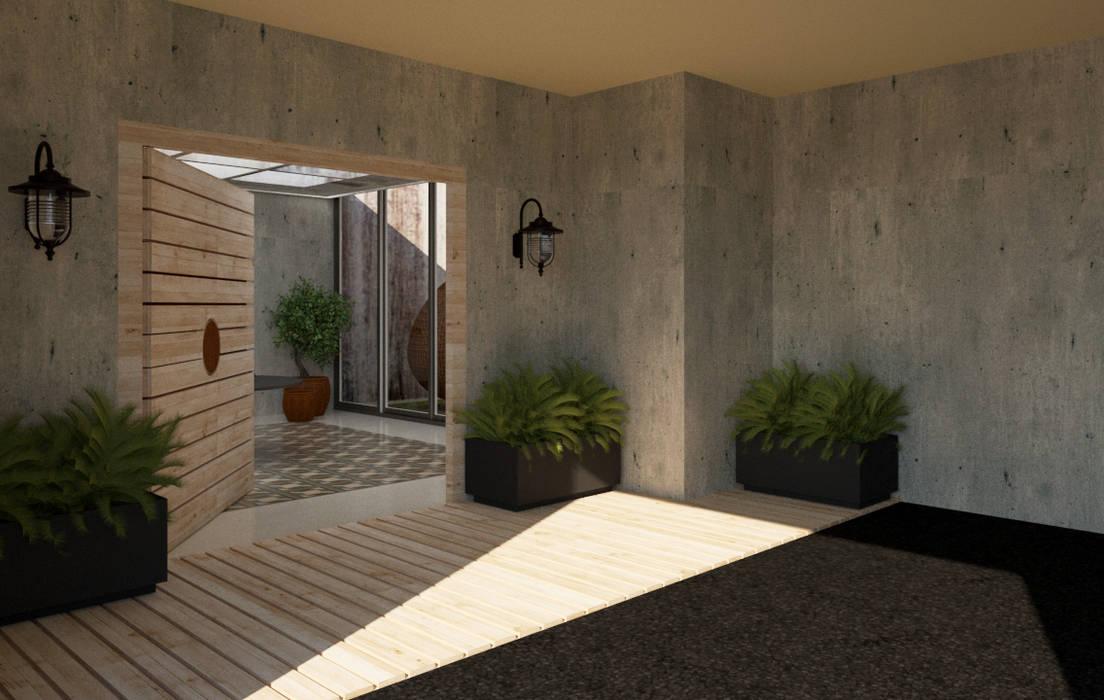 Entrada y garaje, Casa 10 x 10 CONCEPTO JORU Garajes escandinavos Gris