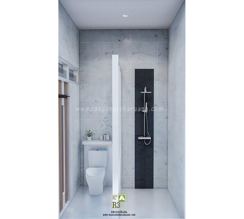 IVN House - Rumah Bapak Ivan - Cirebon, Jawa Barat Rancang Reka Ruang Kamar Mandi Minimalis Beton White