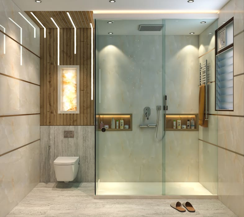 Luxury Bathroom Project Mr Sunil Singh S Luxury Bathroom Bara Bazar Kolkata Custom Design Interiors Pvt Ltd Custom Design Interiors Pvt Ltd Modern Bathroom Tiles Grey Homify