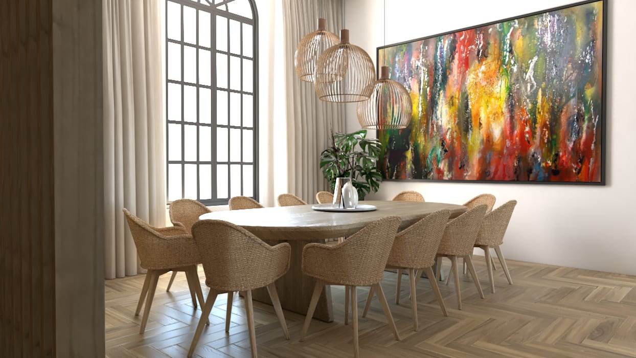 Área sala de jantar Salas de jantar rústicas por BORAGUI - Design Studio Rústico