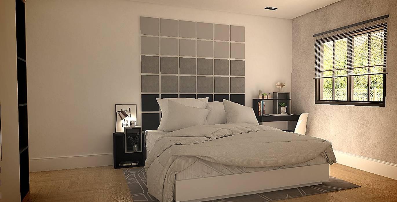 Quarto de casal- móveis sem parafusos, totalmente de encaixe por homify Moderno