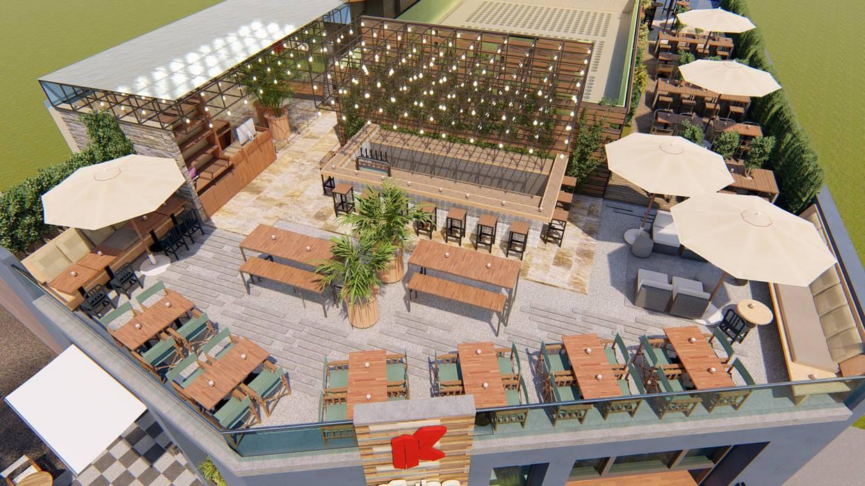 Terraza restaurant Kubo Balcones y terrazas industriales de Skla Urbana Industrial Madera Acabado en madera