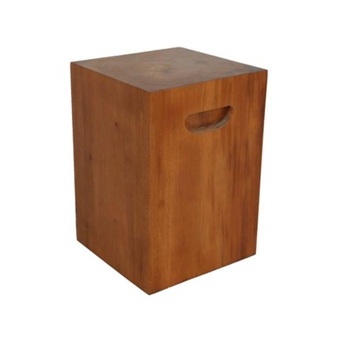 Banco cubo com alças Camacã Design em Madeira Sala de estarBancos e cadeiras Madeira maciça