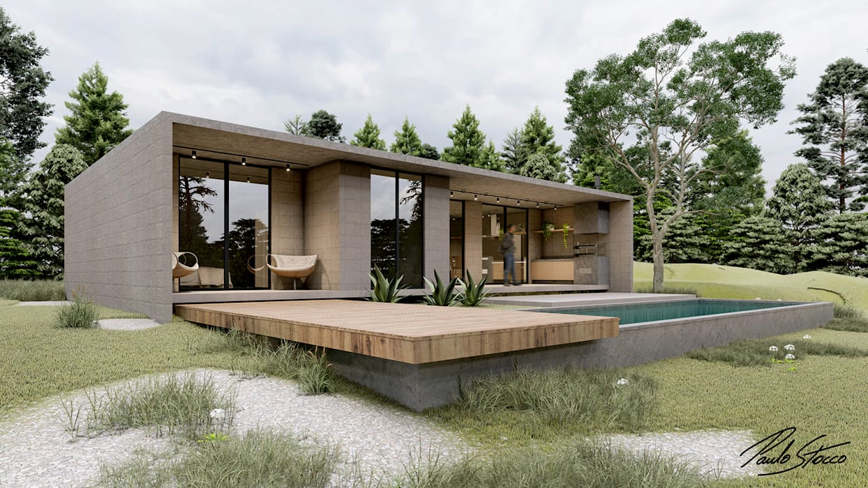 Paulo Stocco Arquiteto Rumah Minimalis Beton Grey