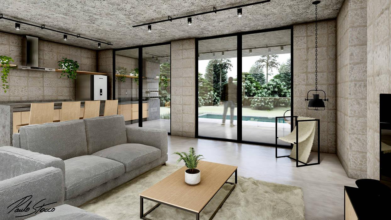 Ambiente Open Space Casas industriais por Paulo Stocco Arquiteto Industrial Concreto