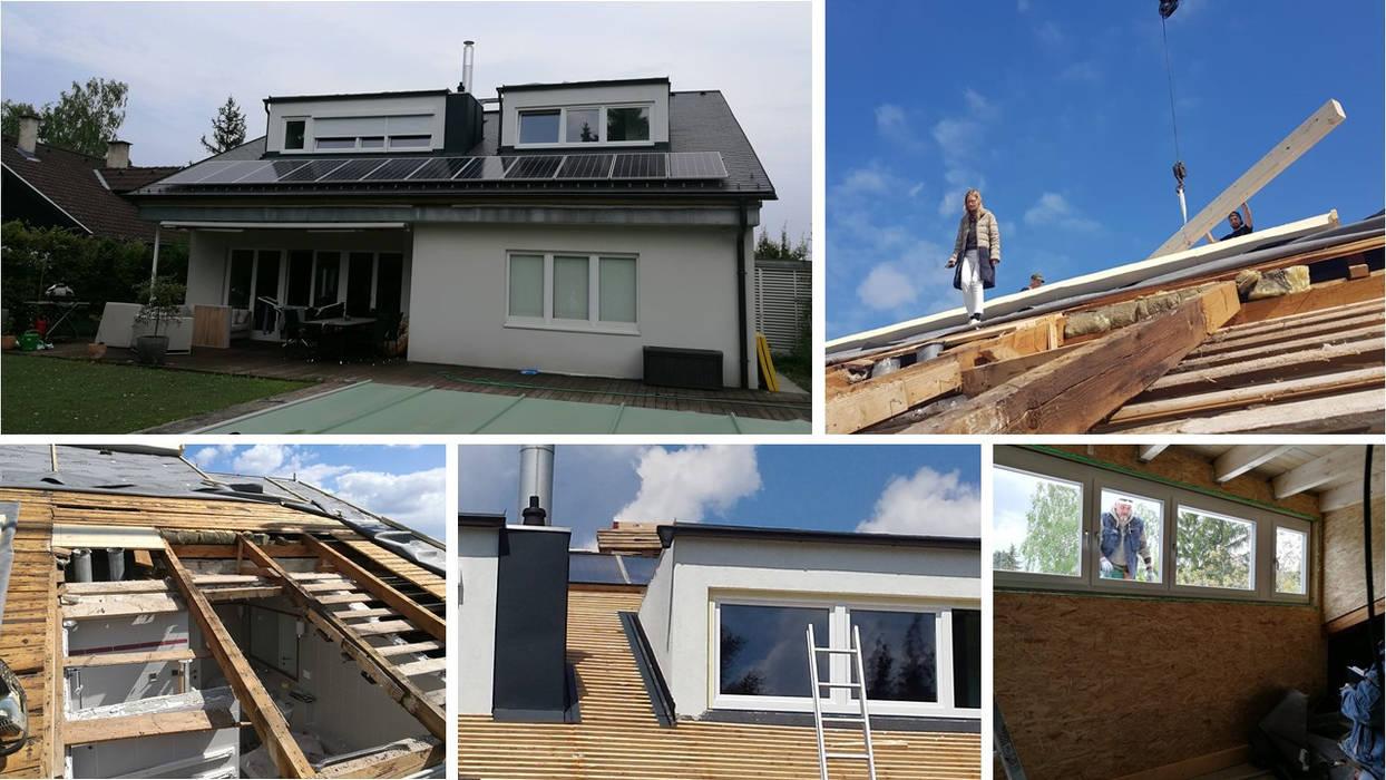Dachsanierung mit neuen Gaupen In-Architecture Satteldach Grau