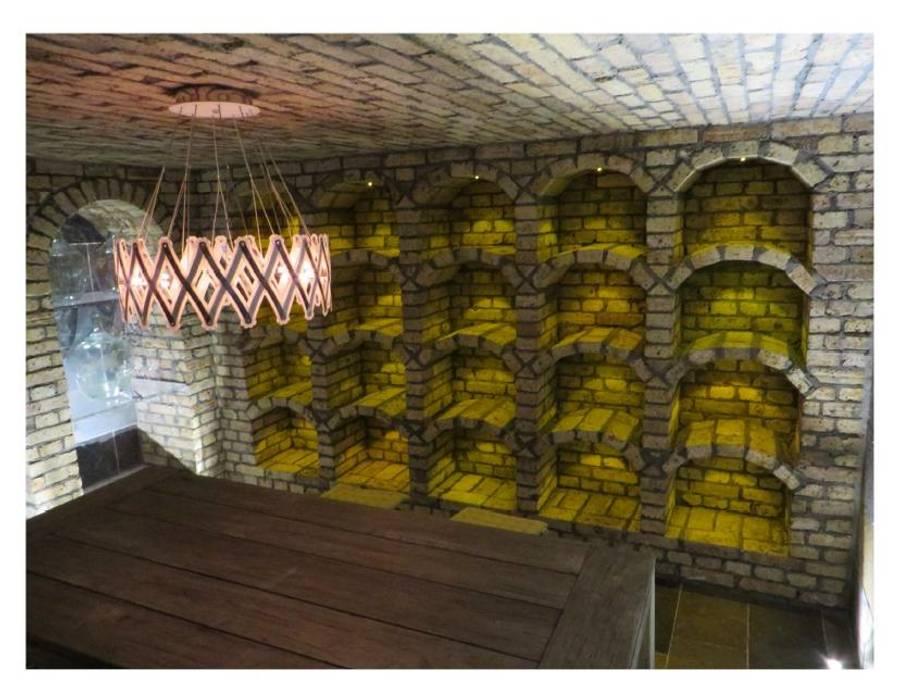Weinregal aus antiken Ziegeln Antik-Stein Rustikale Weinkeller