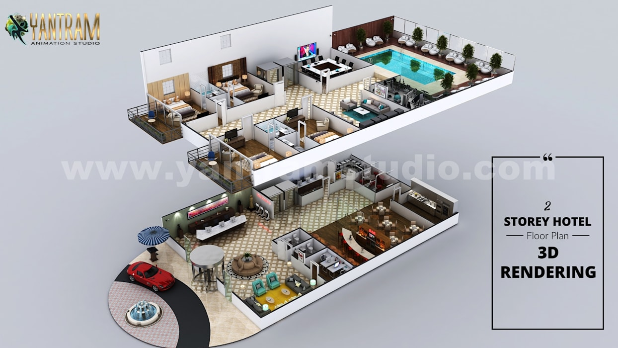 Hotel 3D Floor Plan With Beautiful Backyard Pool Landscaping by Architectural Design Studio, Cape Town - South Africa Yantram Architectural Design Studio Corporation Villas