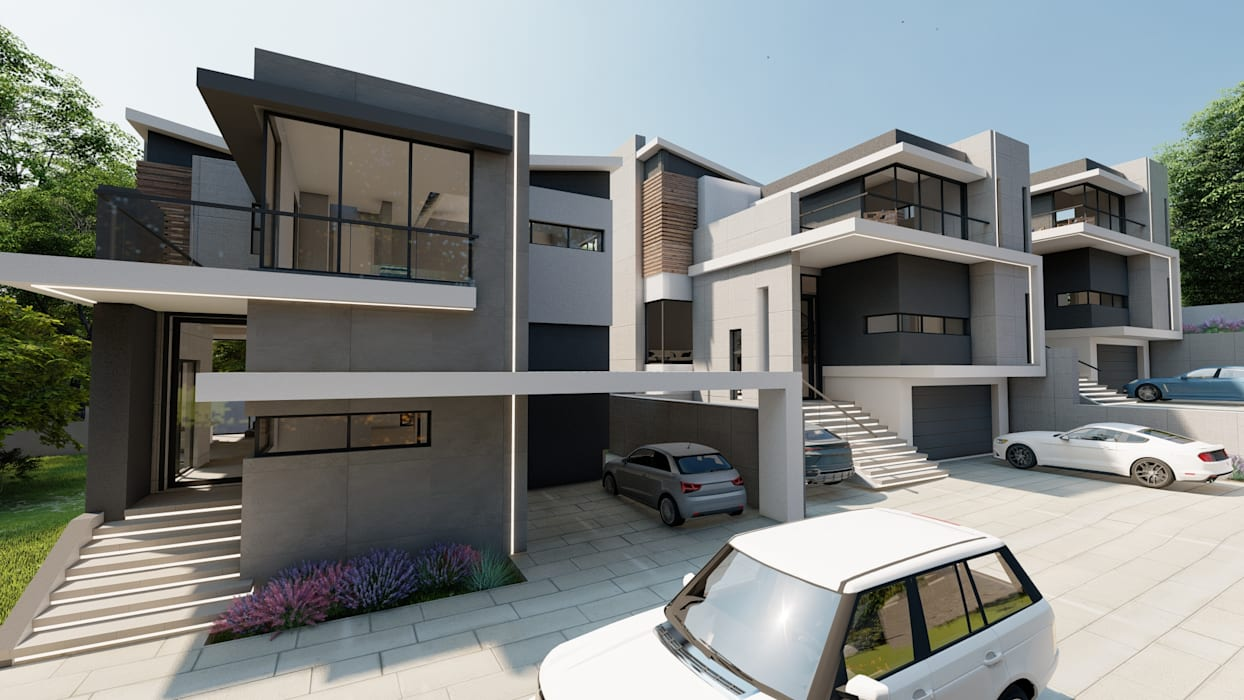 Ultra modern townhouse complex Modern houses by FRANCOIS MARAIS ARCHITECTS Modern