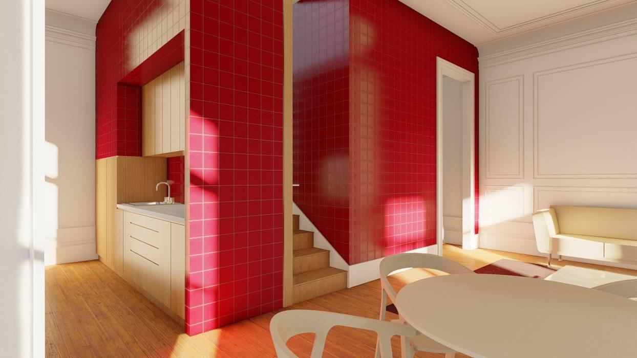 Cozinha vista da sala - Apartamentos em edifício em reabilitação, Porto. Salas de jantar ecléticas por José Melo Ferreira, Arquitecto Eclético
