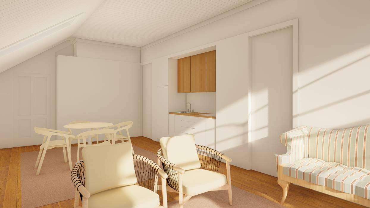 Sala comum com kitchenette - Apartamentos em edifício em reabilitação, Porto. Salas de jantar ecléticas por José Melo Ferreira, Arquitecto Eclético