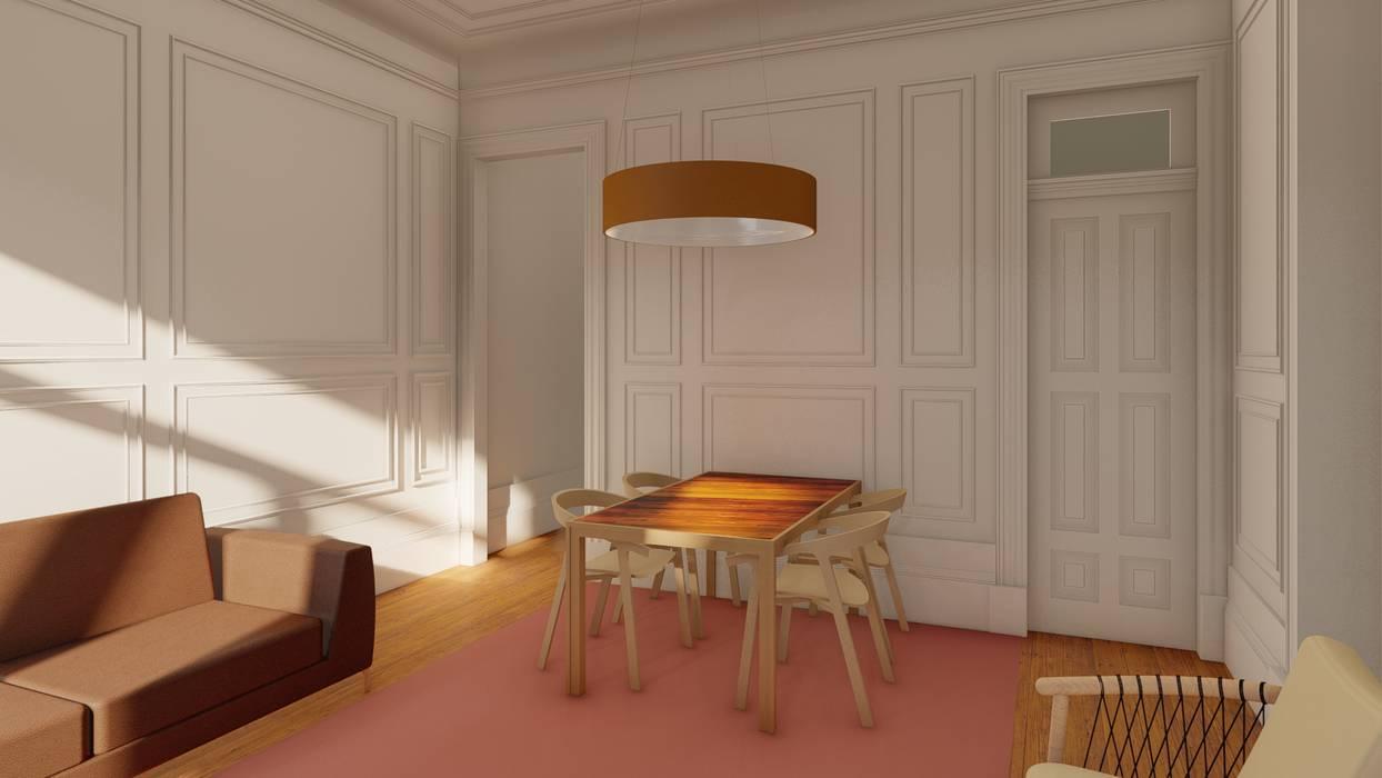 Sala comum - Apartamentos em edifício em reabilitação, Porto. Salas de jantar clássicas por José Melo Ferreira, Arquitecto Clássico