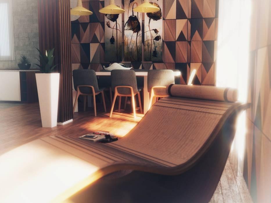 Progetto soggiorno con cucina a vista a Milano Fanchini Roberto architetto - Archifaro Soggiorno moderno