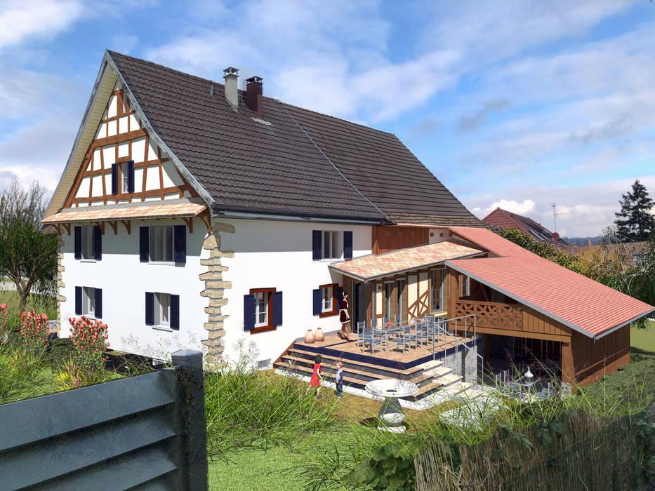 Rénovation - transformation Maisons rurales par A.FUKE-PRIGENT ARCHITECTE Rural