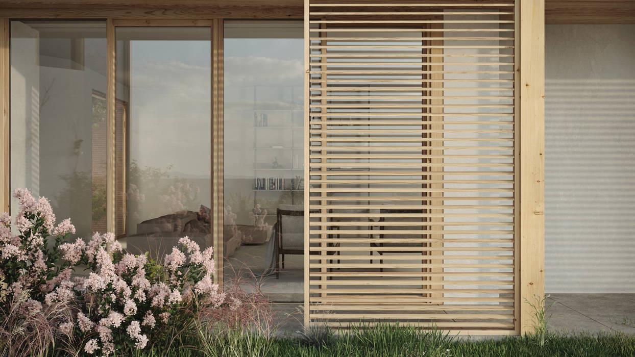 Casa S - il soggiorno visto dal giardino locatelli pepato Case moderne Legno Bianco