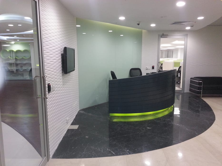 Reception Table , Back Drop S4S Interiors LLP Commercial Spaces