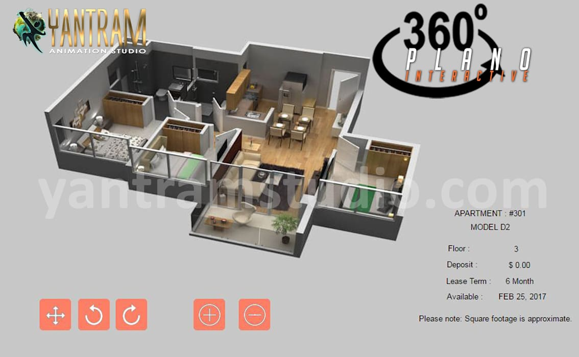 360-Degree Interactive Residential House 3D Virtual Floor Plan Design With beautiful balcony by virtual reality development companies, Texas - USA Yantram Architectural Design Studio Corporation Villas
