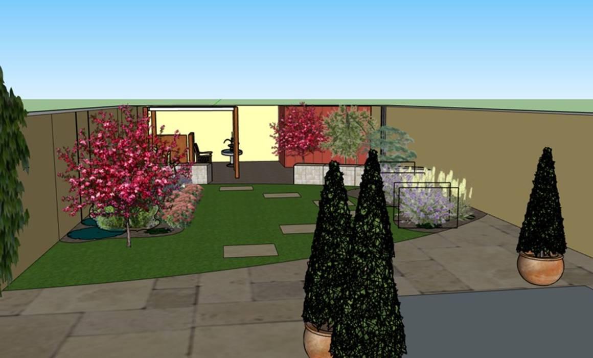 3D software elevation showing garden view from the house The Rooted Concept Garden Designs by Deborah Biasoli Mediterranean style garden