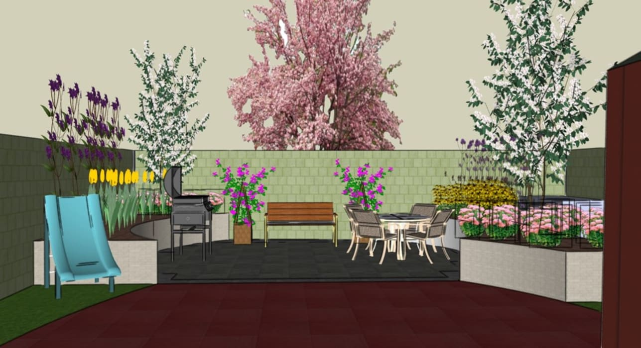 3D software elevation of garden view from the house The Rooted Concept Garden Designs by Deborah Biasoli Eclectic style garden
