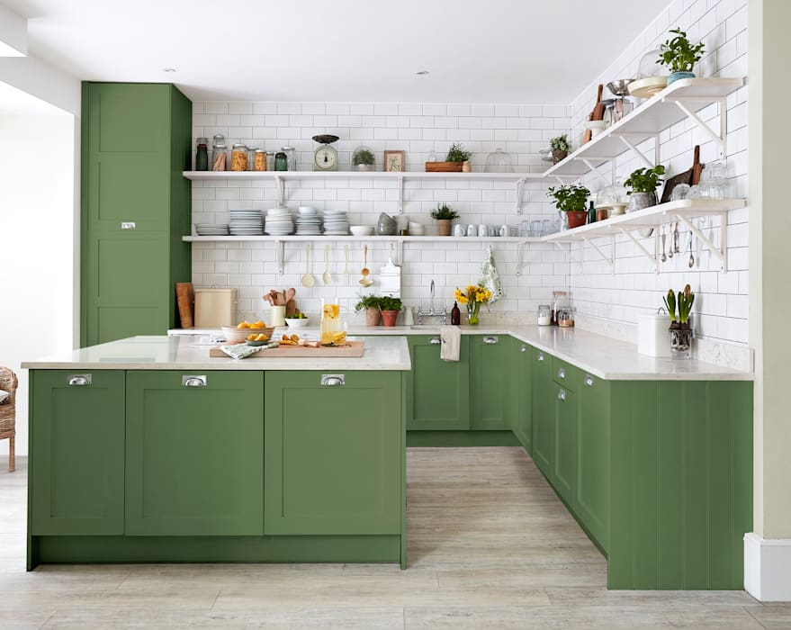 Devon Green Kitchen for Sanderson Paint Alice Margiotta Cuisine rurale Vert