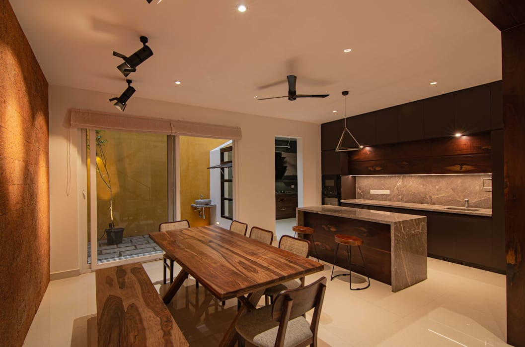 Dining with Dry Kitchen Tropical style dining room by Ideation Design Tropical Wood Wood effect