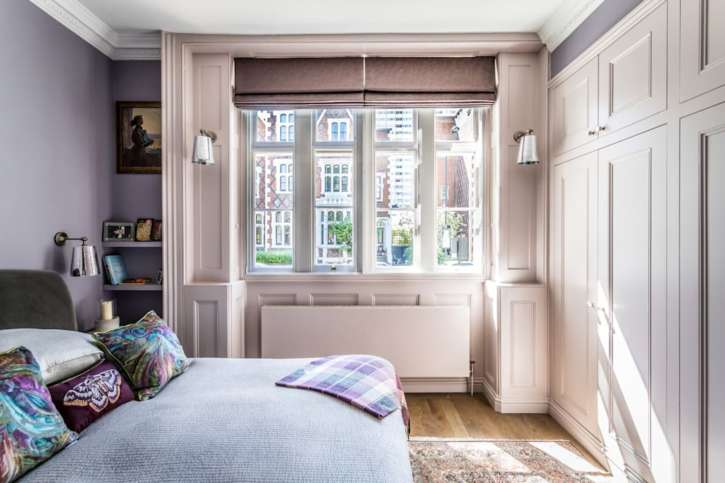 Bedroom in Holland Park Apartment Decorbuddi Classic style bedroom Grey