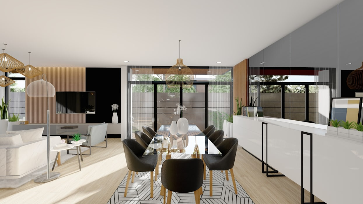 Dining Room Structura Architects Modern dining room Concrete Wood effect