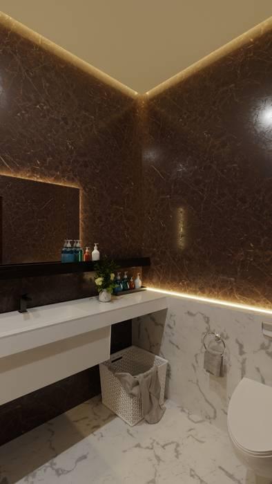 Tomy House DiArsitekin Kamar Mandi Modern Marmer Brown