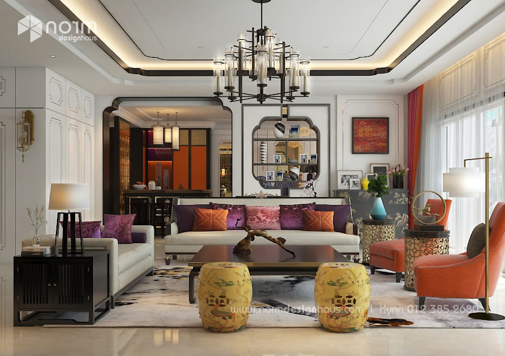 Pavilion Hilltop, Indochine Style Norm designhaus Asian style living room