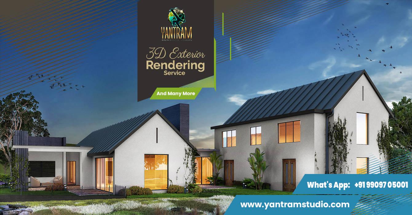 Modern Residential Farmhouse 3D Exterior Architectural Rendering Services by Architectural Design Studio, Toronto - Canada Yantram Architectural Design Studio Corporation Villas