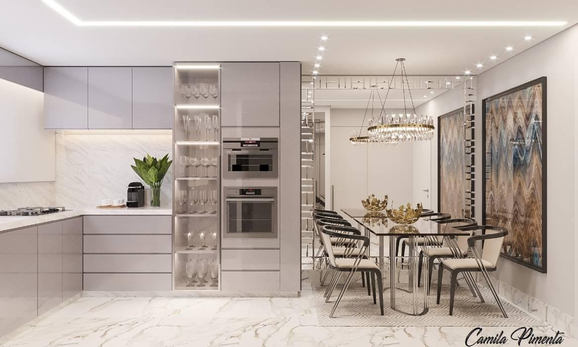 Cozinha Integrada Camila Pimenta | Arquitetura + Interiores Salas de jantar modernas Madeira Cinza