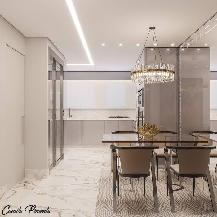 Cozinha Integrada Salas de jantar modernas por Camila Pimenta | Arquitetura + Interiores Moderno Madeira Efeito de madeira