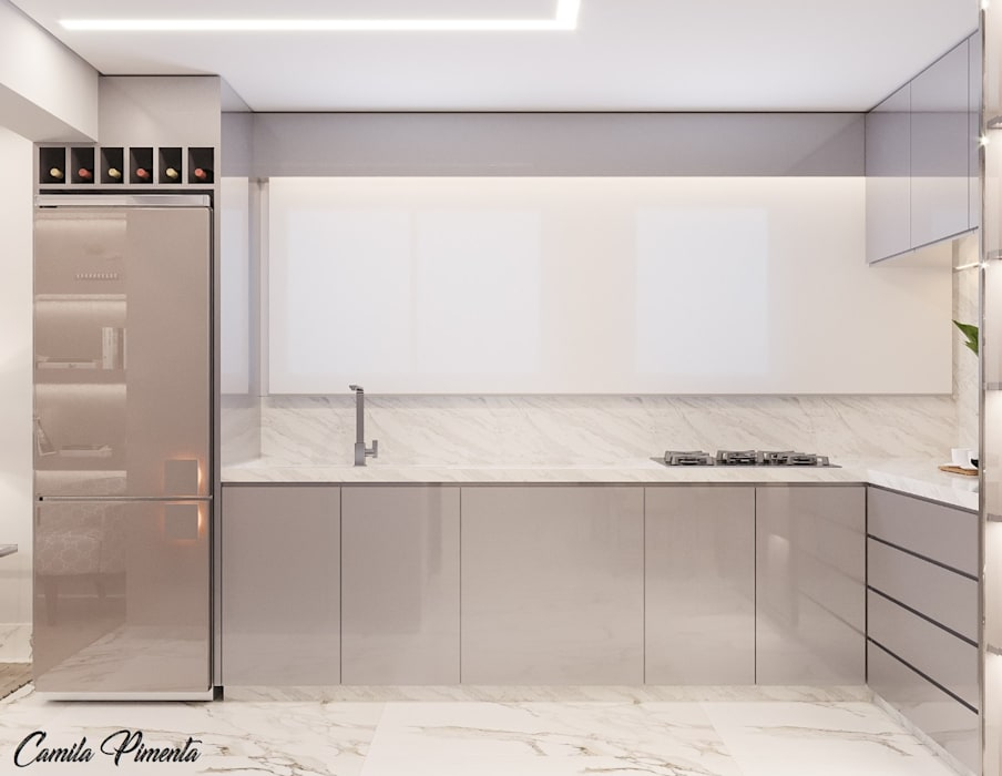 Cozinha Integrada Camila Pimenta | Arquitetura + Interiores Armários e bancadas de cozinha Madeira Cinza