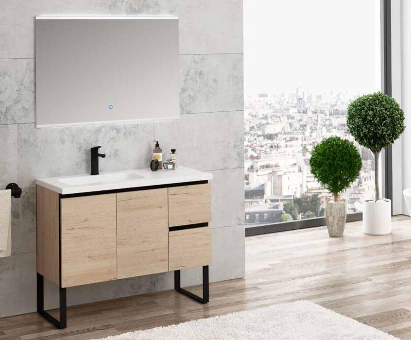 Movel c/ pés Roble Wellington/Negro Fator Banho Casa de banhoArrumação Multicolor