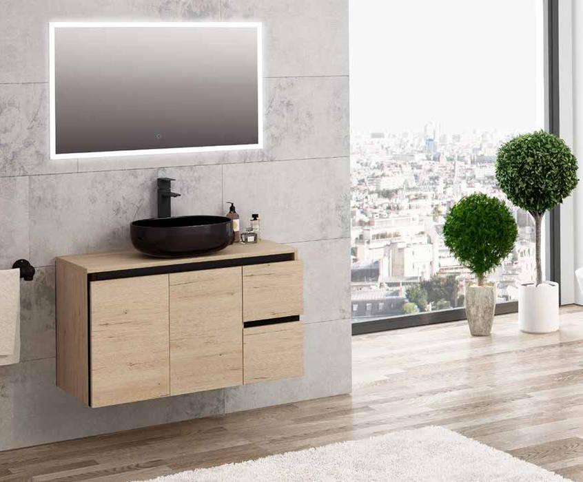 Movel Suspenso Roble Wellington/Negro Fator Banho Casa de banhoArrumação