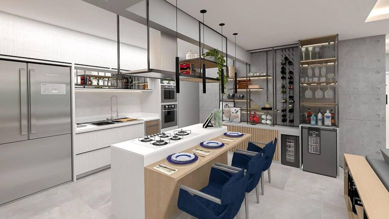 Studio Mies Arquitetura e Interiores Ruang Makan Modern