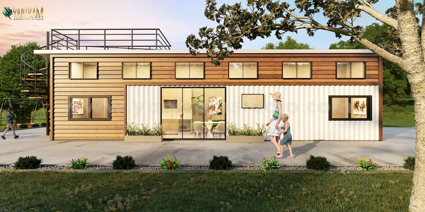 Popular Shipping Container House 3D Exterior Rendering Services by Architectural Design Studio, Amsterdam - Netherlands Yantram Architectural Design Studio Corporation Modern houses