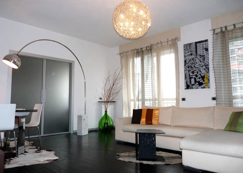 Zona Living Studio Zay Architecture & Design Soggiorno moderno Legno Bianco