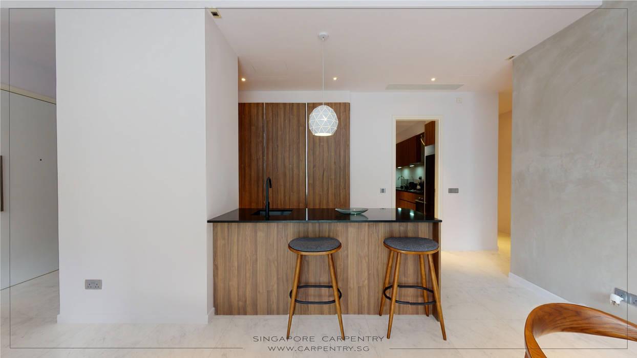 Singapore Carpentry Interior Design Pte Ltd Unit dapur Parket Grey