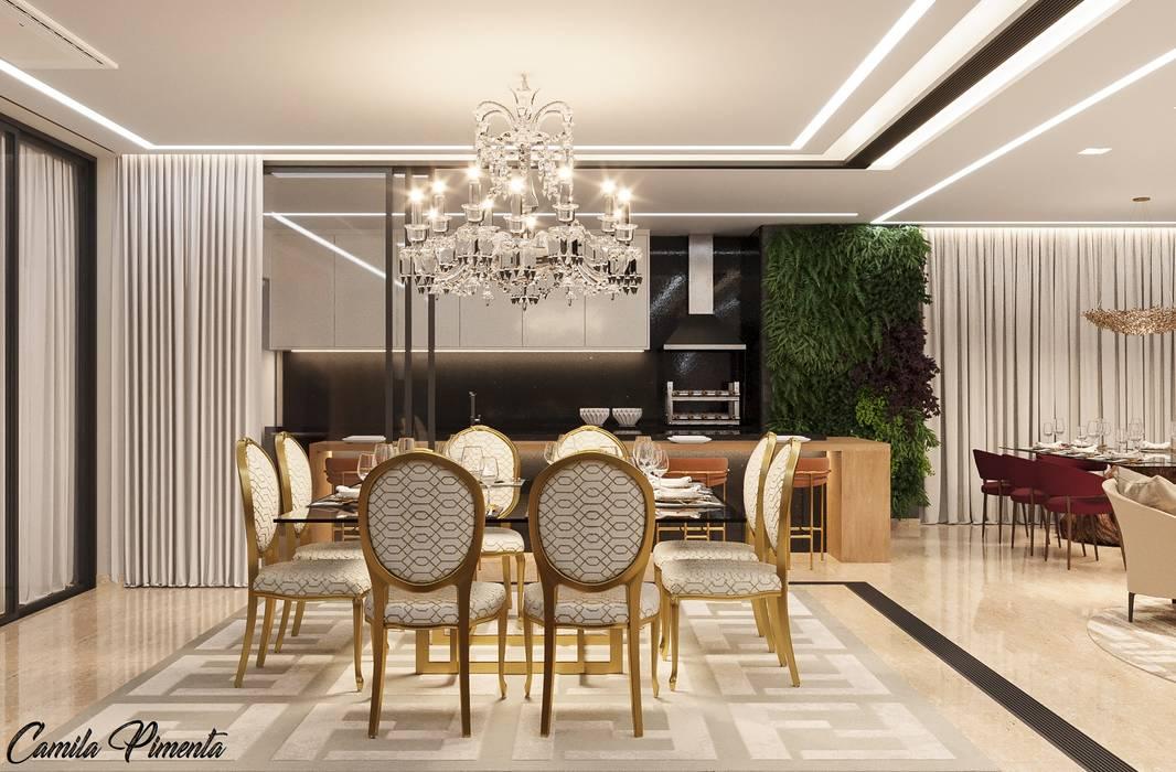 Espaço de Jantar Camila Pimenta | Arquitetura + Interiores Salas de jantar modernas Prata/Ouro Bege