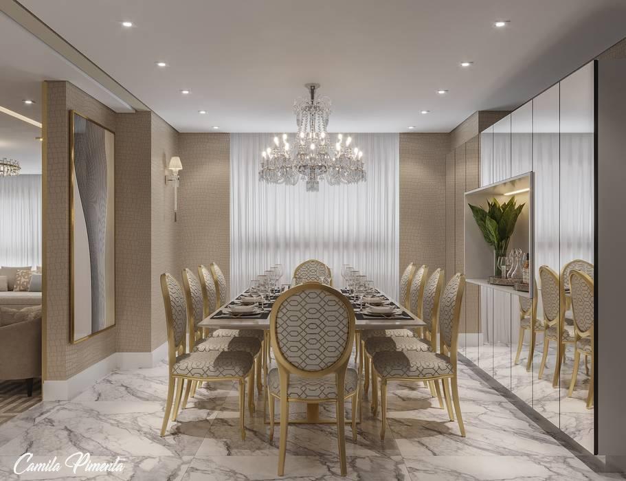 Sala de Jantar Camila Pimenta   Arquitetura + Interiores Salas de jantar modernas Mármore Bege