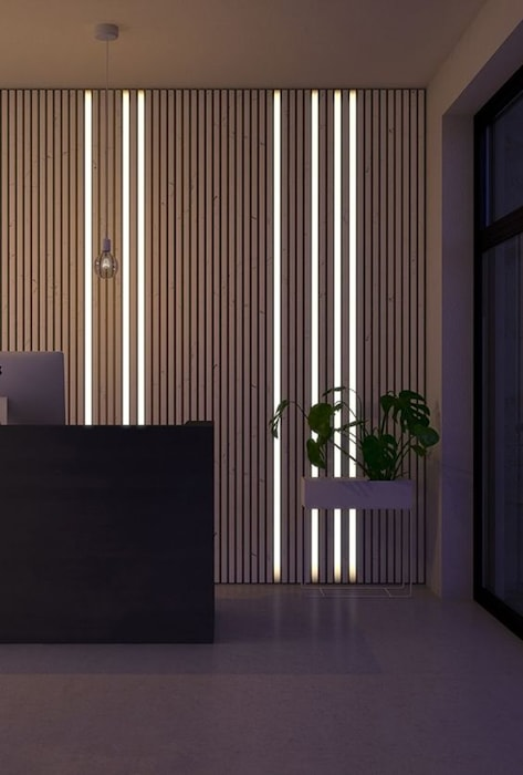 Wall Design with WPC Panel & Lights Designers Gang Modern Walls and Floors