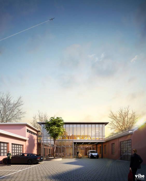 Nuovo edificio per uffici, Zamasport di Vibe Archviz Studio Moderno Vetro
