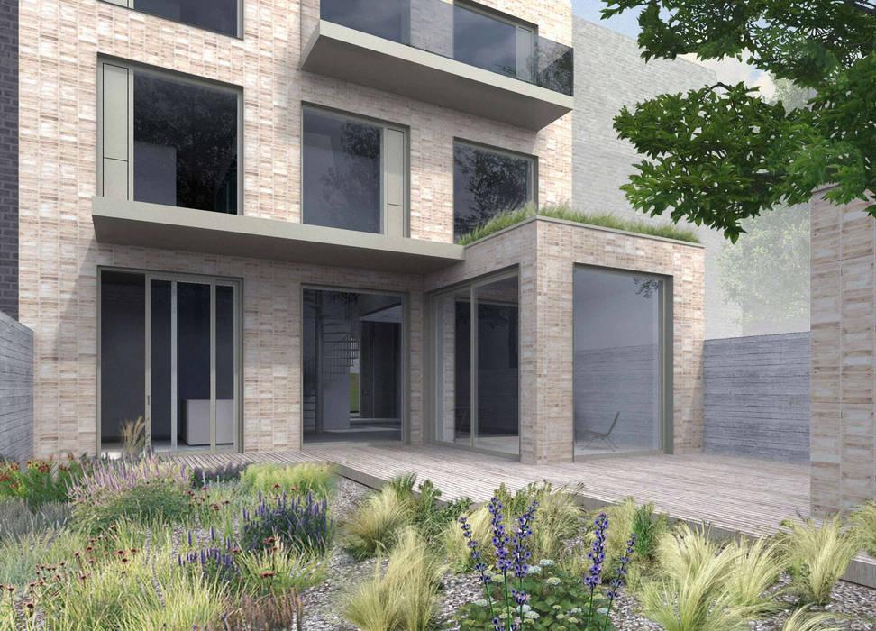 Tuin - benedenwoning Minimalistische huizen van BLOC7 architecten Minimalistisch Stenen